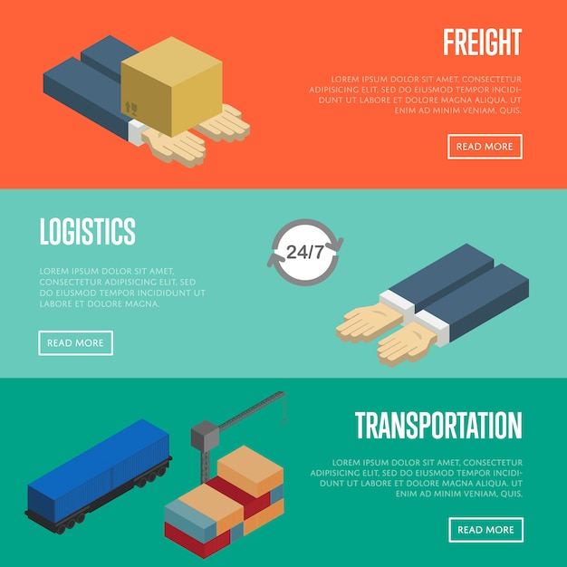 Freight logistics and transportation banners set Premium Vector