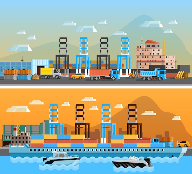 Freight port horizontal banners Free Vector