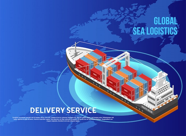 Freight ship over world map Premium Vector