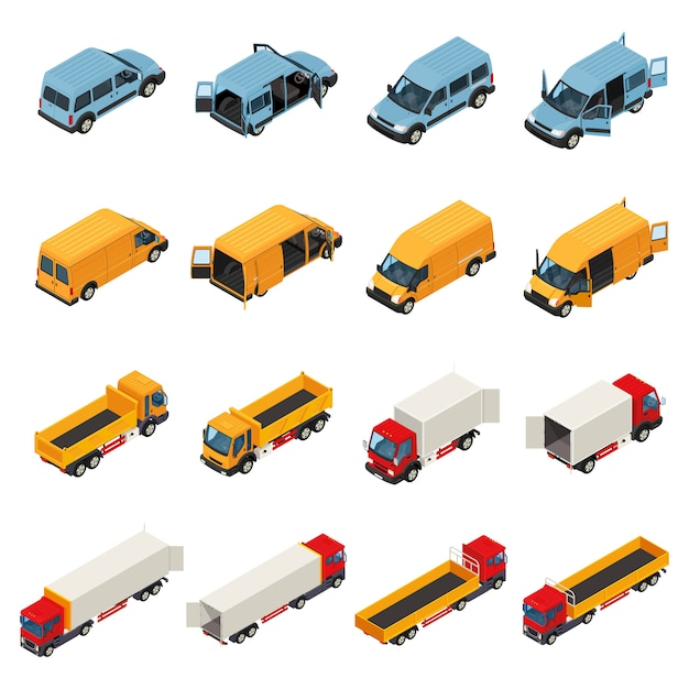 Freight transportation vehicles collection Free Vector