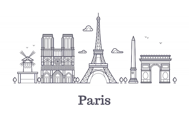 French architecture, paris panorama city skyline vector outline illustration Premium Vector