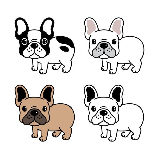 French bulldog cartoon Premium Vector
