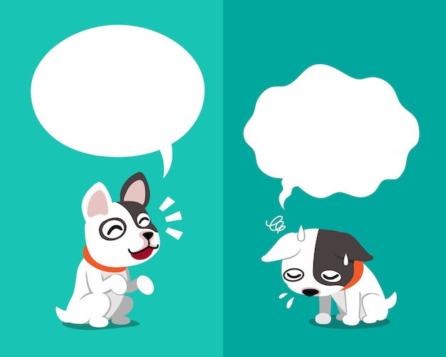French bulldog expressing different emotions Premium Vector