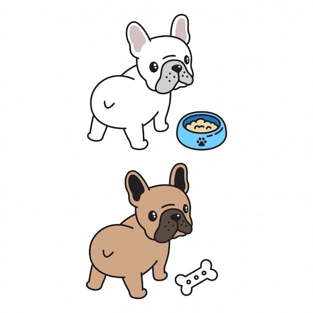 French bulldog food bowl bone cartoon Premium Vector