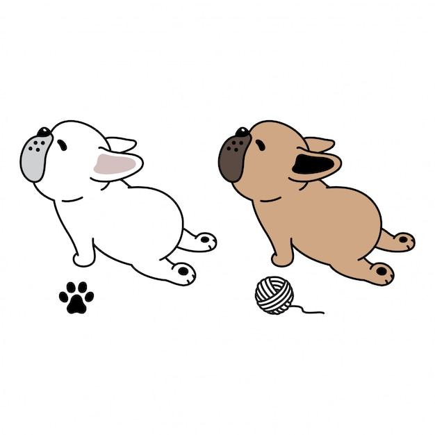 French bulldog paw yarn ball cartoon Premium Vector