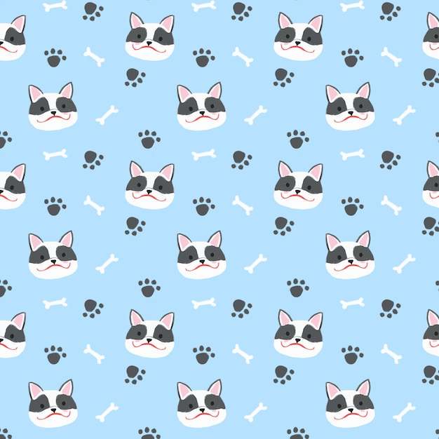 French bulldog seamless pattern background Premium Vector