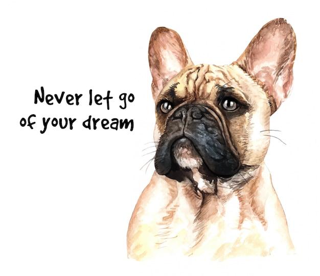 French bulldog watercolor for printing. Premium Vector