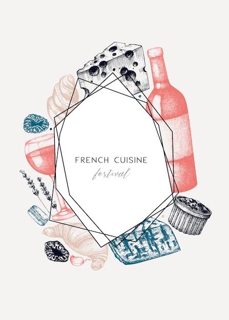 フランス料理メニュー。手描きの食べ物や飲み物のお祭り料理のイラスト。ビンテージスタイルのフランス料理と飲み物のレストランメニューテンプレート。黒板の背景 Premiumベクター