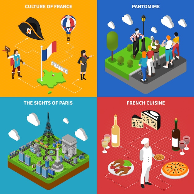 French culture isometric icons square Free Vector