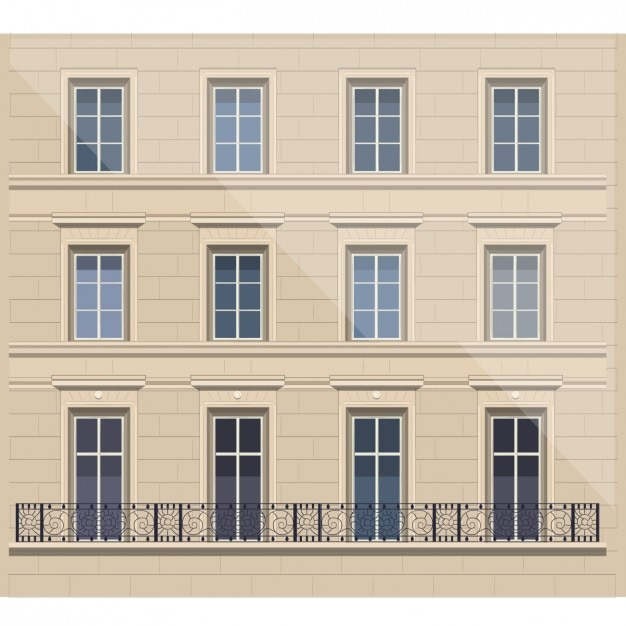 French Facade Illustration Free Vector