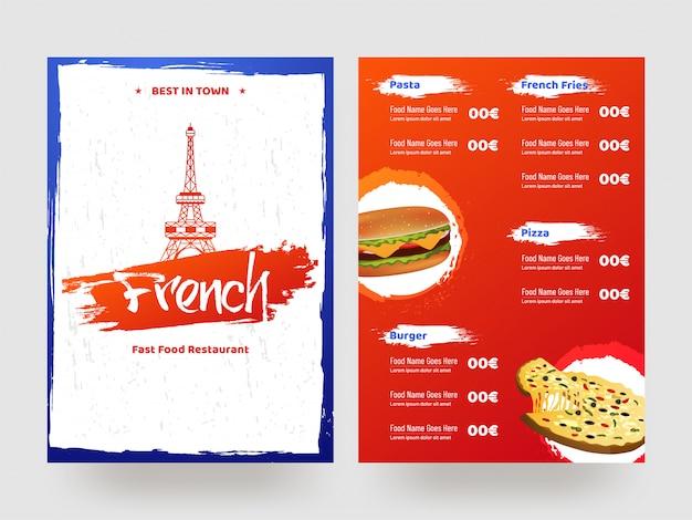 French fast food restaurant menu card. Premium Vector