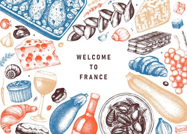 Французская еда и напитки bframe в цвете. эскизы мясных блюд, закусок, десертов, напитков в гравированном стиле. шаблон иллюстрации еды французской кухни. ресторан, доставка, магазин винтажного меню. Premium векторы