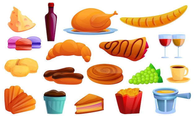 French food icons set, cartoon style Premium Vector