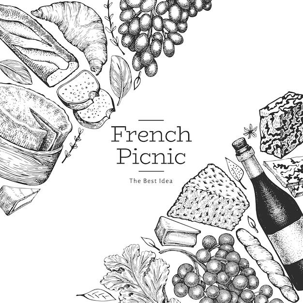 フランス料理のイラストデザイン。刻まれたスタイルの異なるスナックとワイン Premiumベクター
