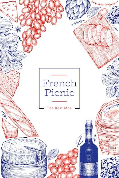 Французская еда шаблон дизайна иллюстрации. нарисованные рукой иллюстрации еды пикника. выгравированный стиль отличается легкой закуской и винным баннером. винтажная еда фон. Premium векторы