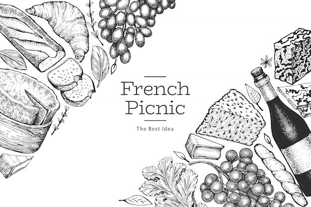 フランス料理イラストデザインテンプレートです。手描きの背景ピクニック食事イラスト。刻まれたスタイルの異なるスナックとワインのバナー。ヴィンテージ食品の背景。 Premiumベクター
