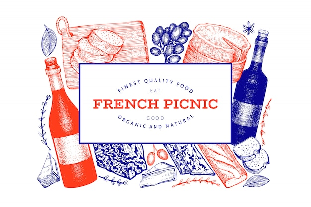 刻まれたスタイルの異なるスナックとワインのフランス料理イラストデザイン Premiumベクター