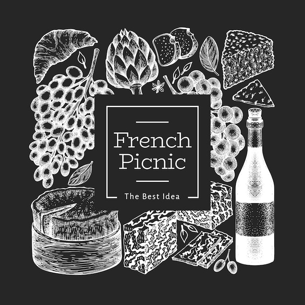 フランス料理のイラスト。チョークボードに描かれたベクトルピクニック食事イラストを手します。刻印スタイルの異なるスナックとワイン。ヴィンテージ料理。 Premiumベクター
