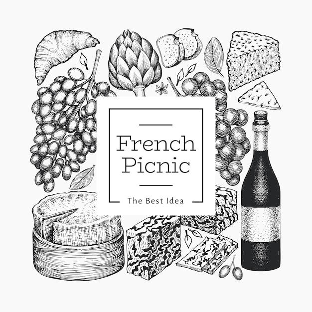 Французская еда иллюстрации шаблон. нарисованные рукой иллюстрации еды пикника. выгравированный стиль отличается закусками и вином. Premium векторы