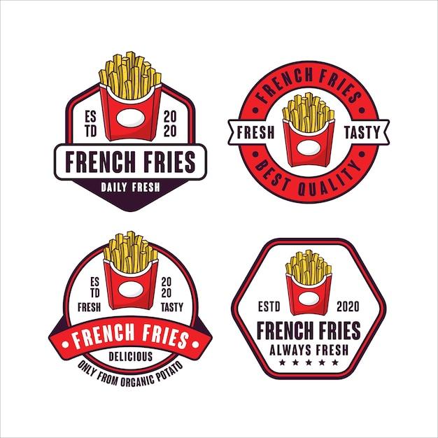 Коллекция логотипов с логотипом french fries Premium векторы