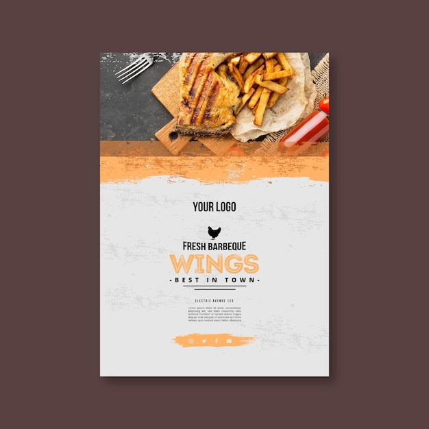 French fries and bbq poster template Premium Vector