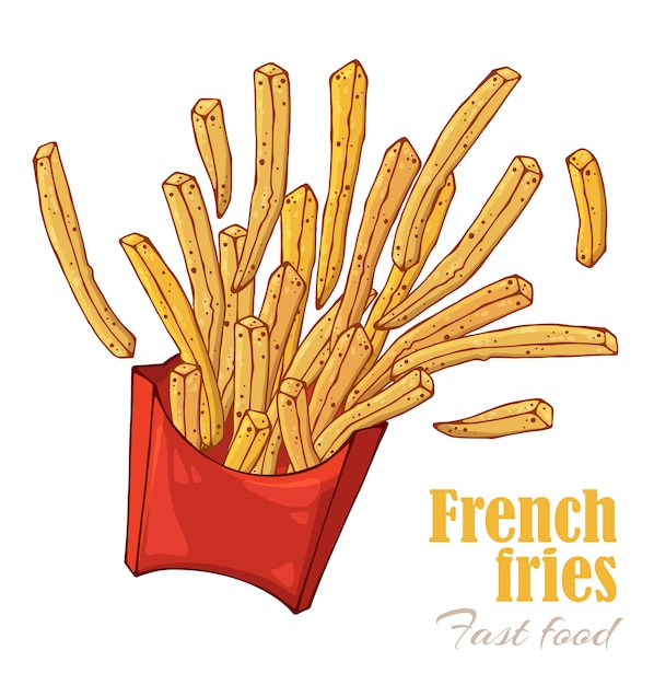 French fries box. Premium Vector