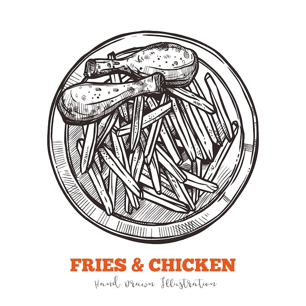 French fries and chicken legs sketch Premium Vector