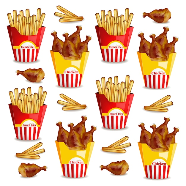 French fries and chicken wings pattern Premium Vector