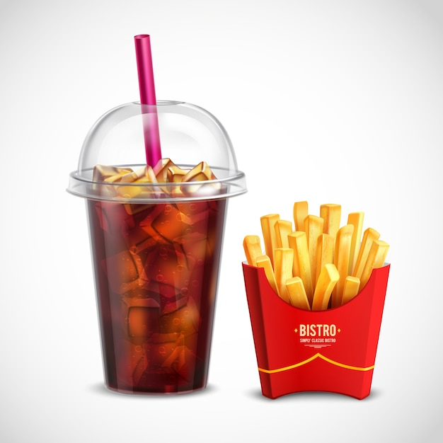 French fries and coca cola Free Vector