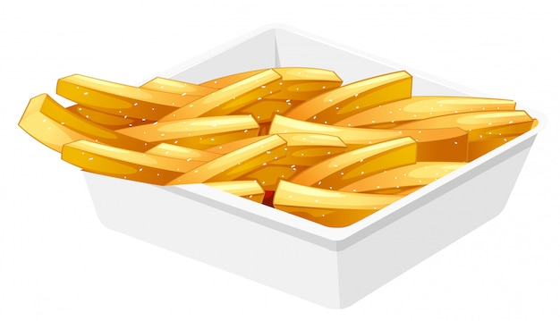 French fries in the disk Free Vector