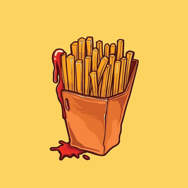 French fries illustration Premium Vector