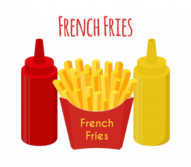 French fries, ketchup, mustard, fried potato. Premium Vector