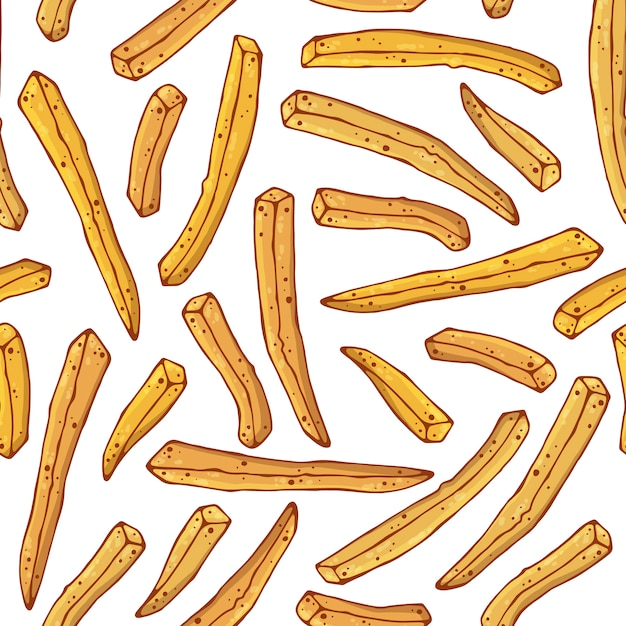 French fries pattern Premium Vector