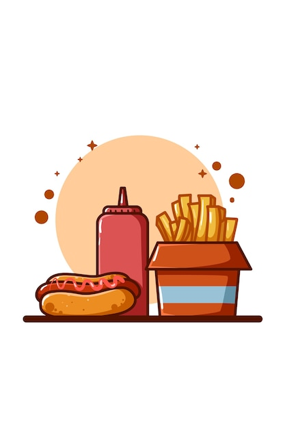 French fries, sauce and hotdog illustration Premium Vector