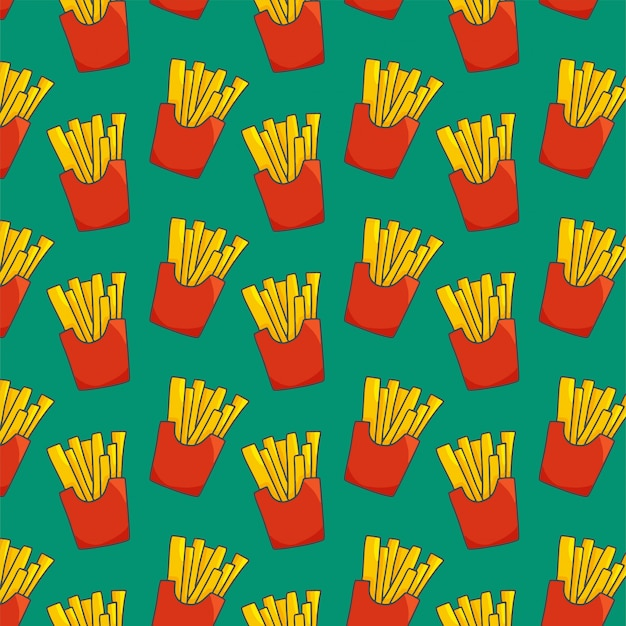 French fries seamless pattern on green Premium Vector