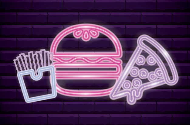 French fries with pizza and hamburger neon light Premium Vector