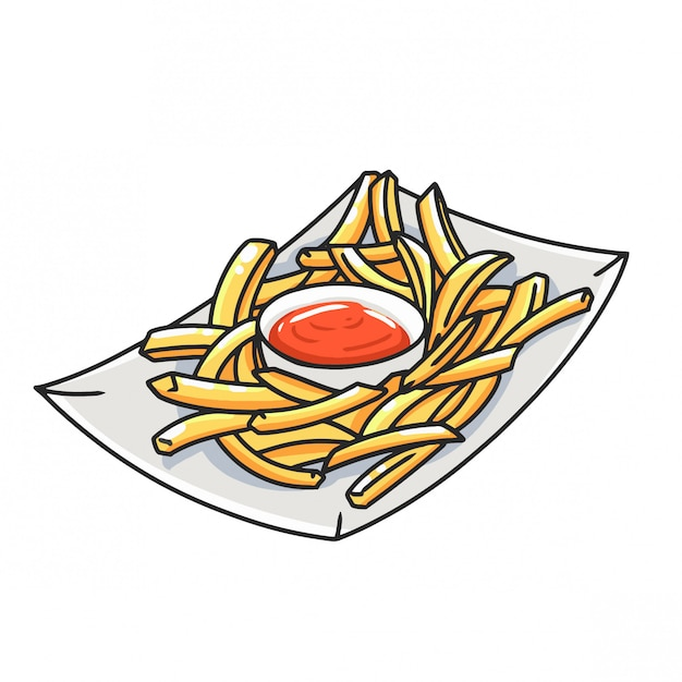 French fries with sauce Premium Vector