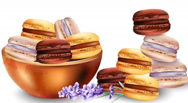 French macaroon sweets in tray Premium Vector