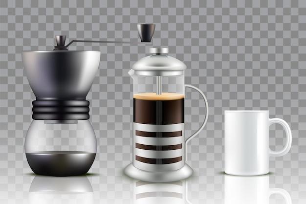 Кофеварка французского пресса, кофемолка и чашка кофе. Premium векторы