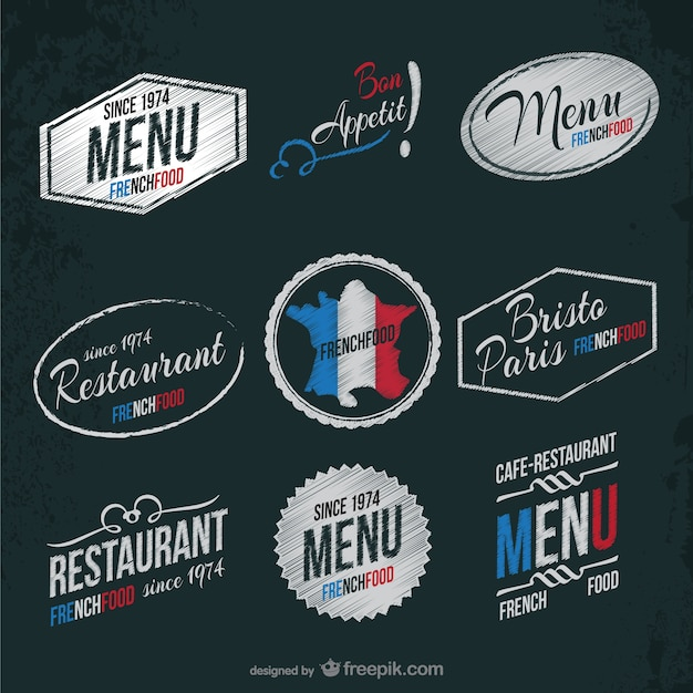 French restaurant stickers Free Vector