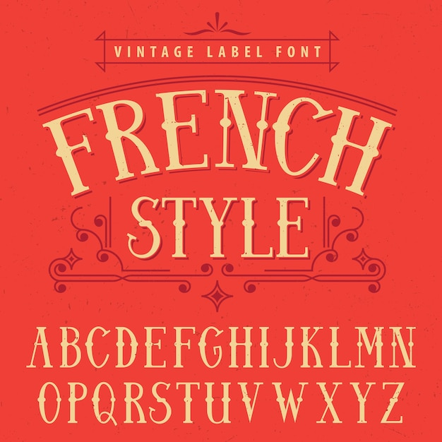 French style label font poster Free Vector