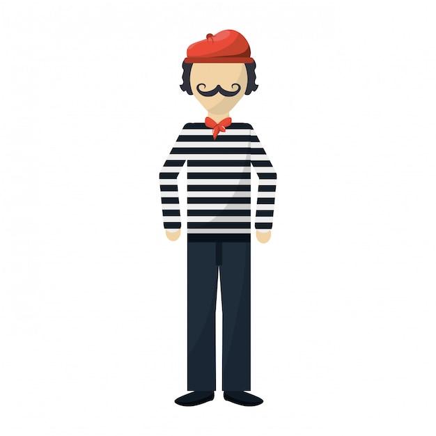 Frenchman character cartoon Premium Vector