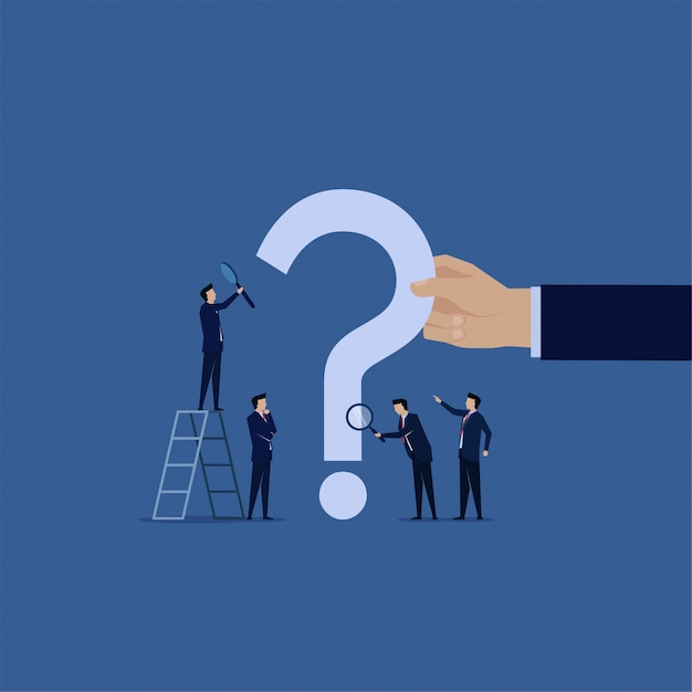 Frequently asked question. business team search with magnify on the question marks. Premium Vector