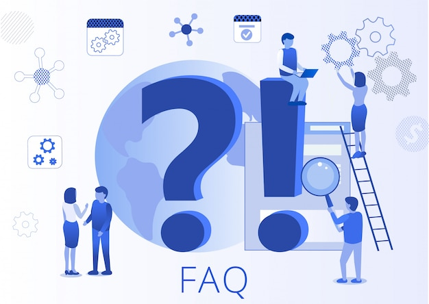 Frequently asked question faq flat landing page Premium Vector