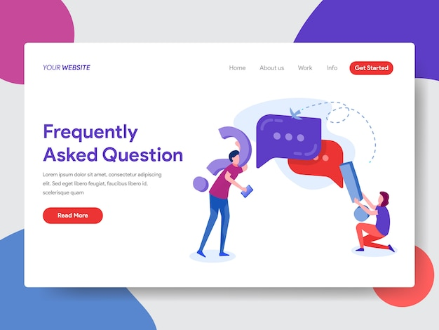 Frequently asked question illustration for homepage Premium Vector