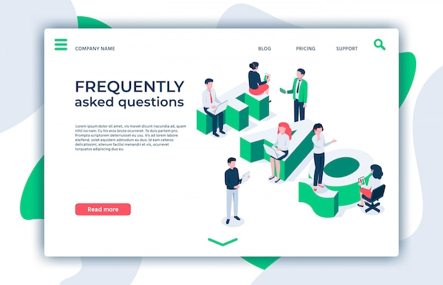 Frequently asked questions. asking question, ask about and faq landing page isometric  illustration Premium Vector