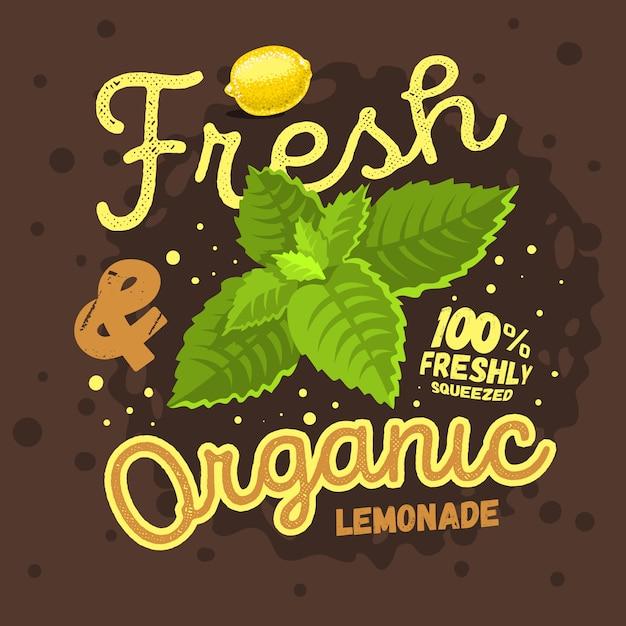 レモンとmiの新鮮でオーガニックの自家製レモネードデザイン Premiumベクター
