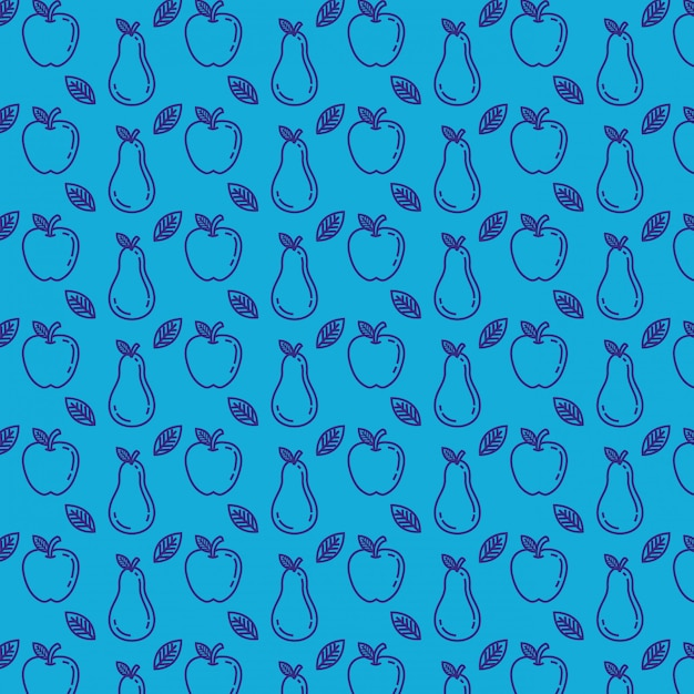 Fresh apples and pears pattern Free Vector