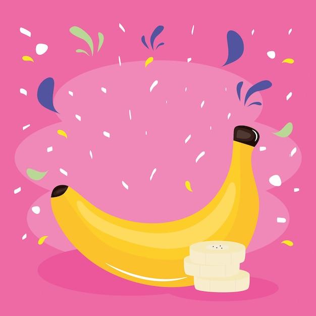 Fresh banana tropical fruit with confetti splash Premium Vector