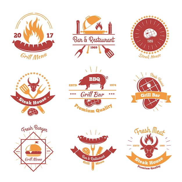 Fresh bbq emblems collection Premium Vector